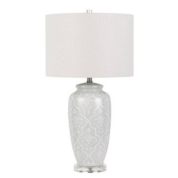 "30"" 3-way Corato Ceramic Table Lamp Pearl White - Cal Lighting"