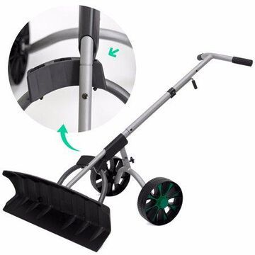 XtremepowerUS Snow Shovel Removal Plower Adjustable Pusher Blade Wheels