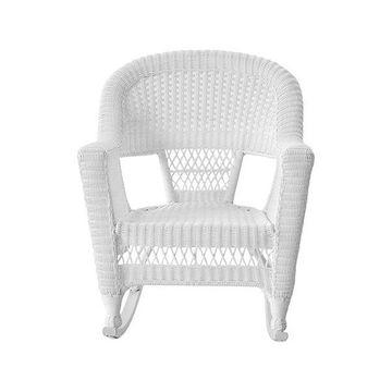 Jeco W00206R-B-2 White Rocker Wicker Chairs, Set of 2