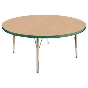 ECR4Kids 48in Round Everyday T-Mold Adjustable Activity Table Maple/Green/Sand - Toddler Swivel