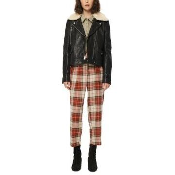 Marc New York Faux-Fur-Collar Leather Moto Jacket