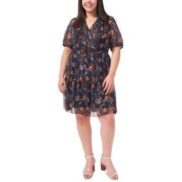 Msk Plus Size Printed Chiffon A-Line Dress