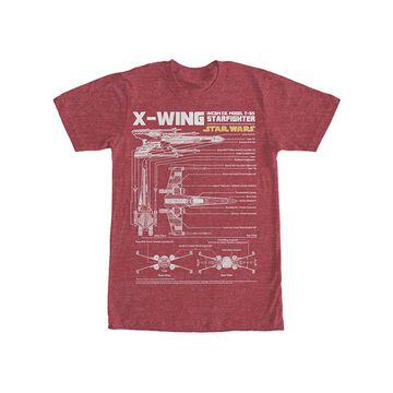 Fifth Sun Men's Tee Shirts RED - Star Wars Red Heather X-Wing Schematics Tee - Men
