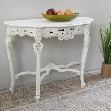 International Caravan Windsor Carved Half-Moon Console Table (Antique White)