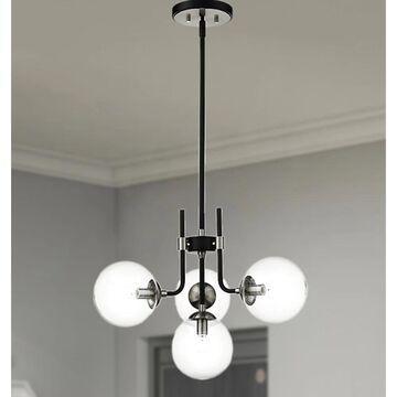 Teresa Black+Brushed Nickel 4-Light Globe Glass Shade Metal Chandelier (Black+Brushed Nickel)