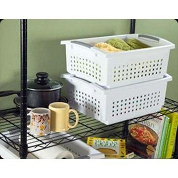 Sterilite Large Plastic Stacking Closet & House Storage Basket & Bin, (12-Pack)