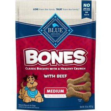 Blue Buffalo Bones Classic Biscuits Beef Dog Treats, 16-oz bag, Medium