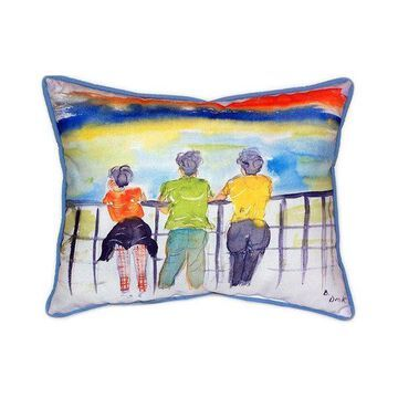 Pair of Betsy Drake Ladies Looking Large Indoor/Outdoor Pillows 16x20