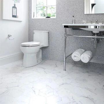 SomerTile 7x8-inch Carra Carrara Hexagon Porcelain Floor and Wall Tile (25 tiles/7.67 sqft.)