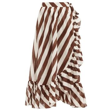 Zimmermann - Lulu Striped Cotton Wrap Skirt - Womens - Brown Stripe