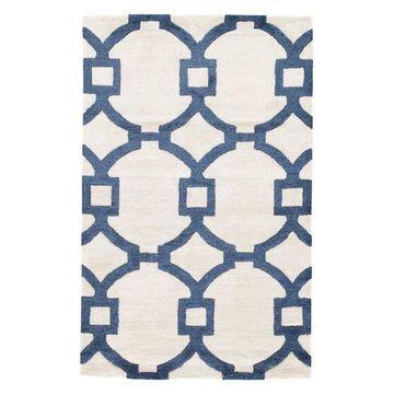 Jaipur Living Regency Handmade Trellis White/Dark Blue Area Rug, 2'x3'