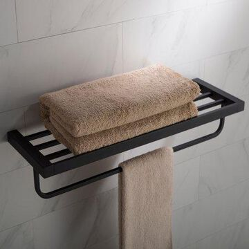 KRAUS Stelios  Bathroom Shelf with Towel Bar, Matte Black Finish