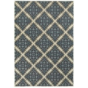 Style Haven Garden Labyrinthe Ivory/Blue Polypropylene Area Rug (9'10 X 12'10) - 9'10