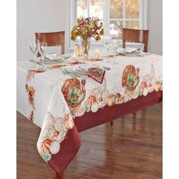 "Elrene Holiday Turkey Bordered Fall Tablecloth, 60"" x 120"""