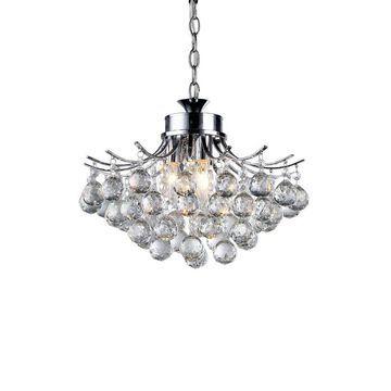 "15"" x 15"" x 7"" Roman Crystal 3 Light Chrome Chandelier Silver - Warehouse of Tiffany"