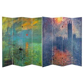 Oriental Furniture Double Sided Works of Monet Canvas 4 Panel Room Divider