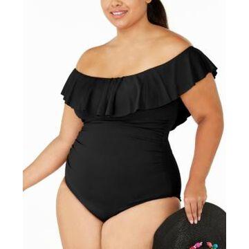 La Blanca Plus Size Island Goddess Off-the-Shoulder One-Piece Swimsuit Women's Swimsuit