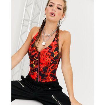Jaded London halter neck corset crop top in flame print-Red
