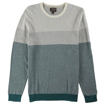 Tasso Elba Mens Colorblocked Supima Pullover Sweater