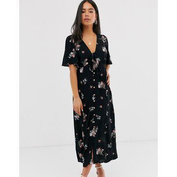 New Look tie front button down dress in floral print-Blue
