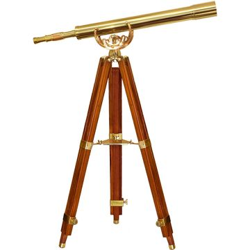 32x80mm Anchormaster Classic Brass Telescope with Mahogany Floor Tripod