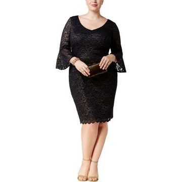 Alex Evenings Womens Plus Lace Shimmer Party Dress