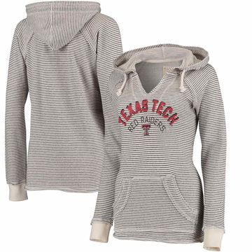 Texas Tech Red Raiders Blue 84 Women's Striped French Terry V-Neck Hoodie - Cream