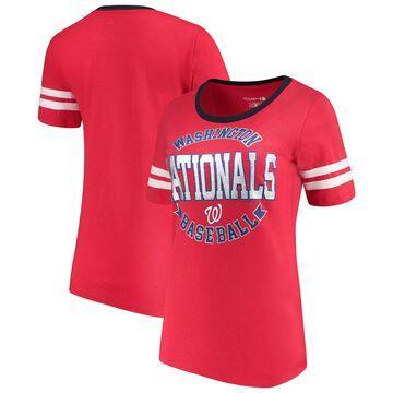 Women's 5th & Ocean by New Era Red Washington Nationals Slub Jersey Scoop Neck Sleeve Stripes T-Shirt