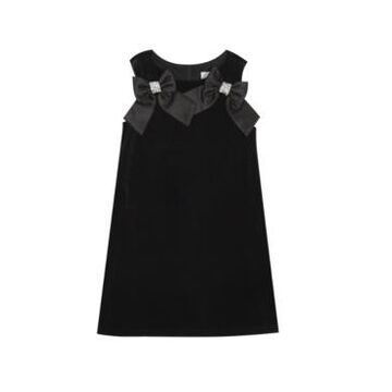Rare Editions Big Girl Velvet Shift Dress With Satin Bow Detail