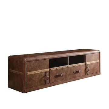 Acme Furniture Aberdeen Top Grain Leather TV Stand, Retro Brown