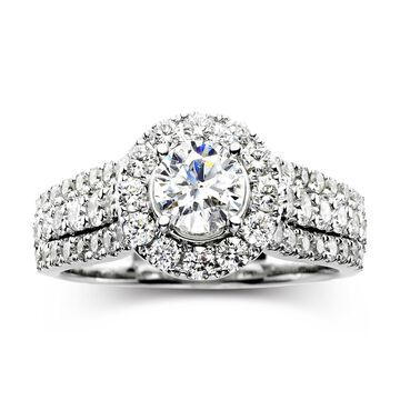 Modern Bride Signature 1 CT. T.W. Certified White & Color-Enhanced Blue Diamond Ring