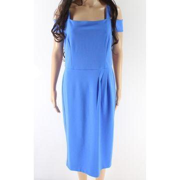 London Times Blue Women's Size 8 Cold Shoulder Sheath Dress