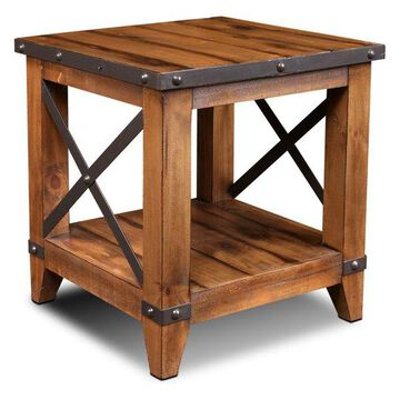 Sunset Trading Rustic City End Table, Shelf