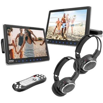 Pyle PLHRDVD108KT 10.5-Inch Universal Headrest Monitors with DVD Players, IR and FM Transmitters and Wireless Headphones