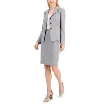 Le Suit Petite Glazed Melange Three-Button Skirt Suit