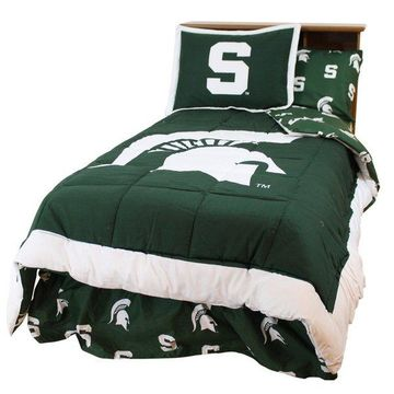 Michigan State Spartans Bed in a Bag Twin, w/ Team Colored Sheets, Que