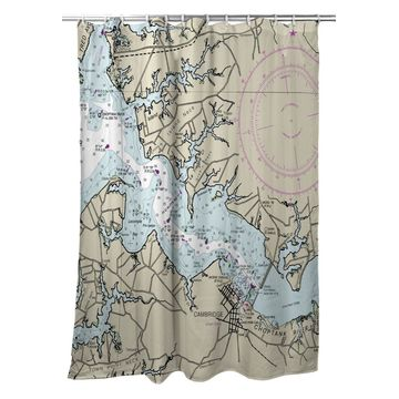 SH12263CT 70 x 72 in. Cambridge, MD Nautical Map Shower Curtain