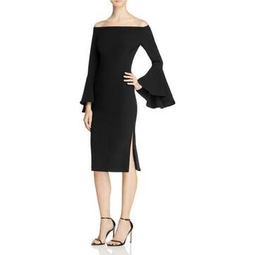 Bardot Womens Off-The-Shoulder Midi Party Dress