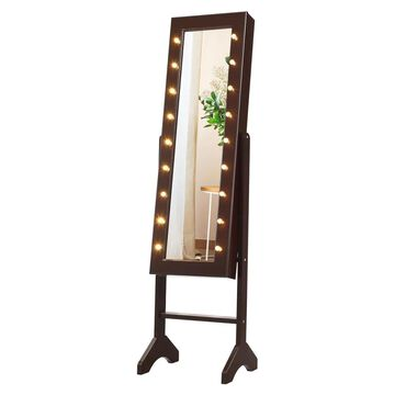 Goplus Mirrored Jewelry Cabinet Organizer 18 LED Lights Brown in Black | HW58531CF