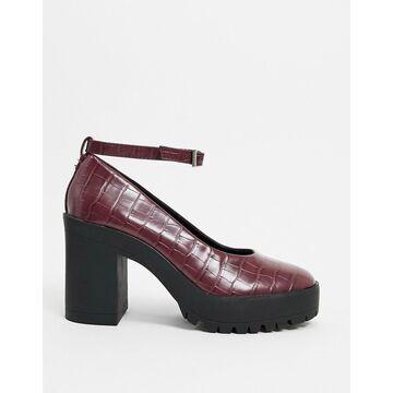 London Rebel chunky heeled shoes in burgundy croc-Red
