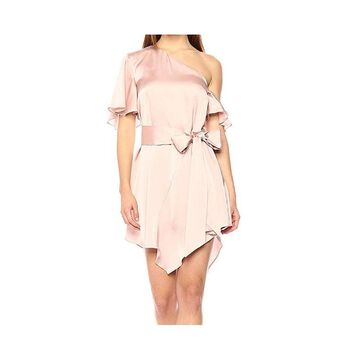 Keepsake Womens Dress Pink Size Small S Sheath Tie-Waist Asymmetric