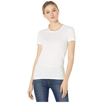Majestic Filatures Linen/Elastane Short Sleeve Crew Neck Tee (Blanc) Women's Clothing