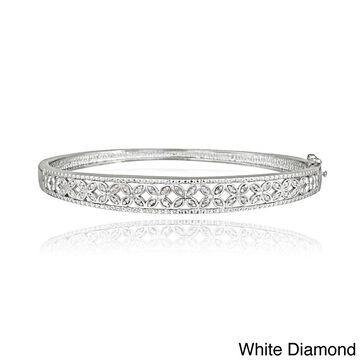 DB Designs Sterling Silver 1/3ct TDW Diamond Flower Bangle Bracelet