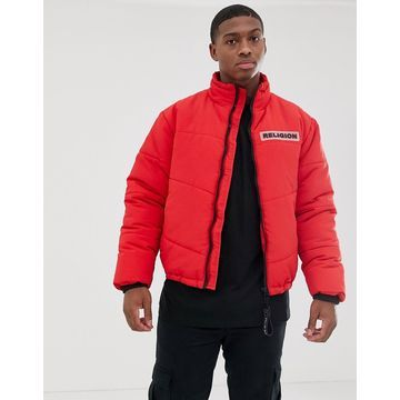 Religion puffer jacket with pockets in red