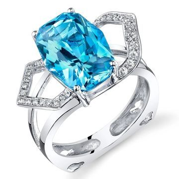 Oravo 14k White Gold Cushion Swiss Blue Topaz Diamond Ring 6.61 carats Size - 7