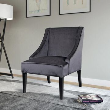 CorLiving Antonio Accent Chair in Dark Grey Velvet