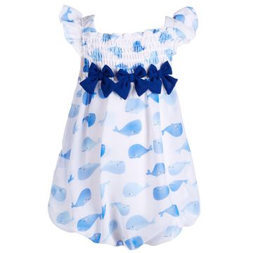 Baby Girls Whale-Print Bubble Romper, Created for Macy's