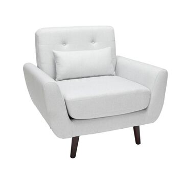 Tufted Fabric Mid-Century Modern Accent Chair with Arms and Lumbar Support Pillow & Walnut Legs - OFM