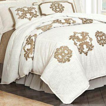 HiEnd Accents Linen Duvet With Velvet Embroidery Super Queen, FB1755DU-SQ-OM