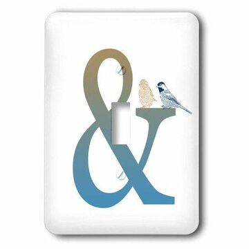 3dRose Ampersand And with Birds, Single Toggle Switch